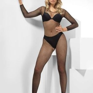 NWT Long Sleeve Small Hole Fishnet Bodysuit